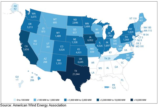Understanding Wind Energy Potential In The Southeast Scottmadden - Map-of-us-wind-farms