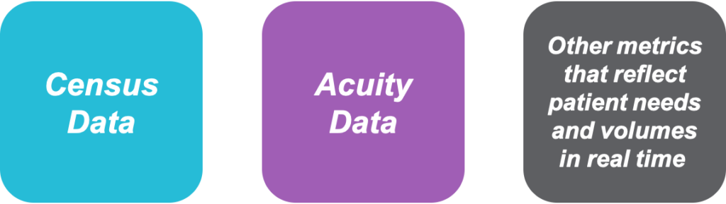 Census data, acuity data, real-time paitent volume and needs data graphic.
